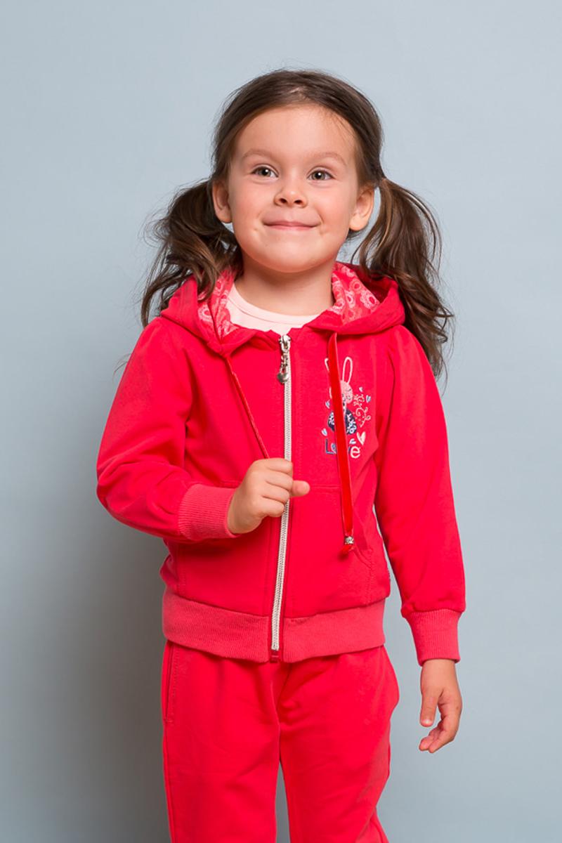 Толстовка для девочки Sweet Berry Baby, цвет: коралловый. 732119. Размер 92732119Яркая трикотажная толстовка для девочки с капюшоном декорированная вышивкой. Длинный рукав-фонарик. Застегивается на молнию.