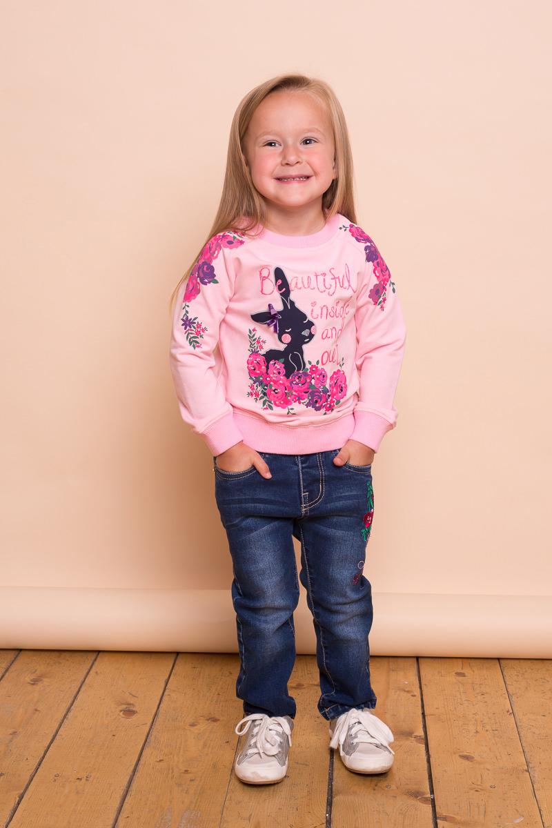 Толстовка для девочки Sweet Berry Baby, цвет: розовый. 732016. Размер 80732016Толстовка для девочки Sweet Berry Baby выполнена из эластичного хлопка. Модель с рукавами-реглан и круглым вырезом горловины декорирована ярким принтом.