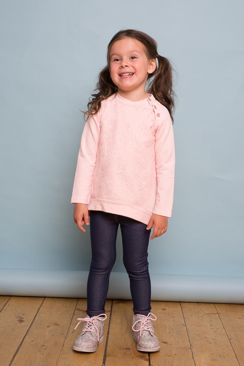 Толстовка для девочки Sweet Berry Baby, цвет: розовый. 732101. Размер 92732101Стильная трикотажная толстовка для девочки нежно-розового цвета с ассиметричным низом, длинным рукавом-реглан. Декорированная кружевной отделкой.