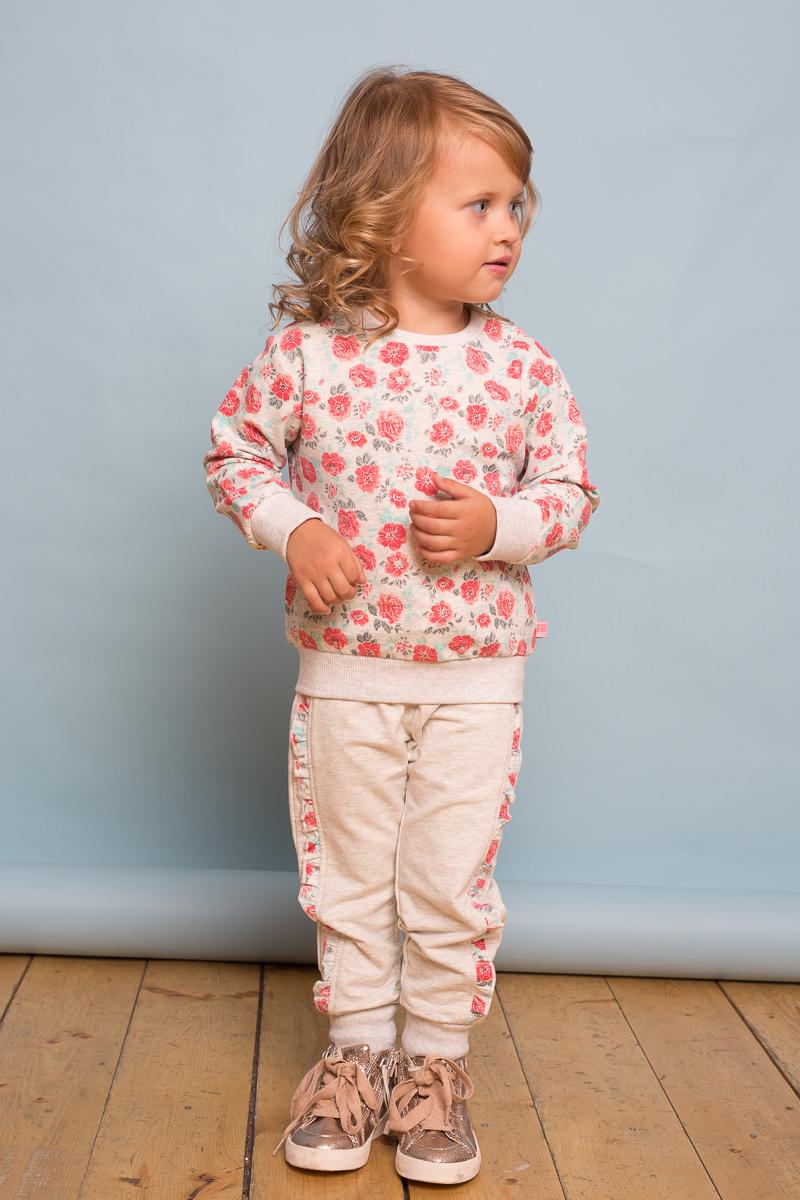 Свитшот для девочки Sweet Berry Baby, цвет: серый. 732098. Размер 86732098Стильный свитшот Sweet Berry Baby для девочки выполнен из эластичного хлопка с печатным цветочным рисунком. Модель с круглым вырезом горловины и длинными рукавами. Горловина, манжеты и низ изделия отделаны широкой трикотажной резинкой