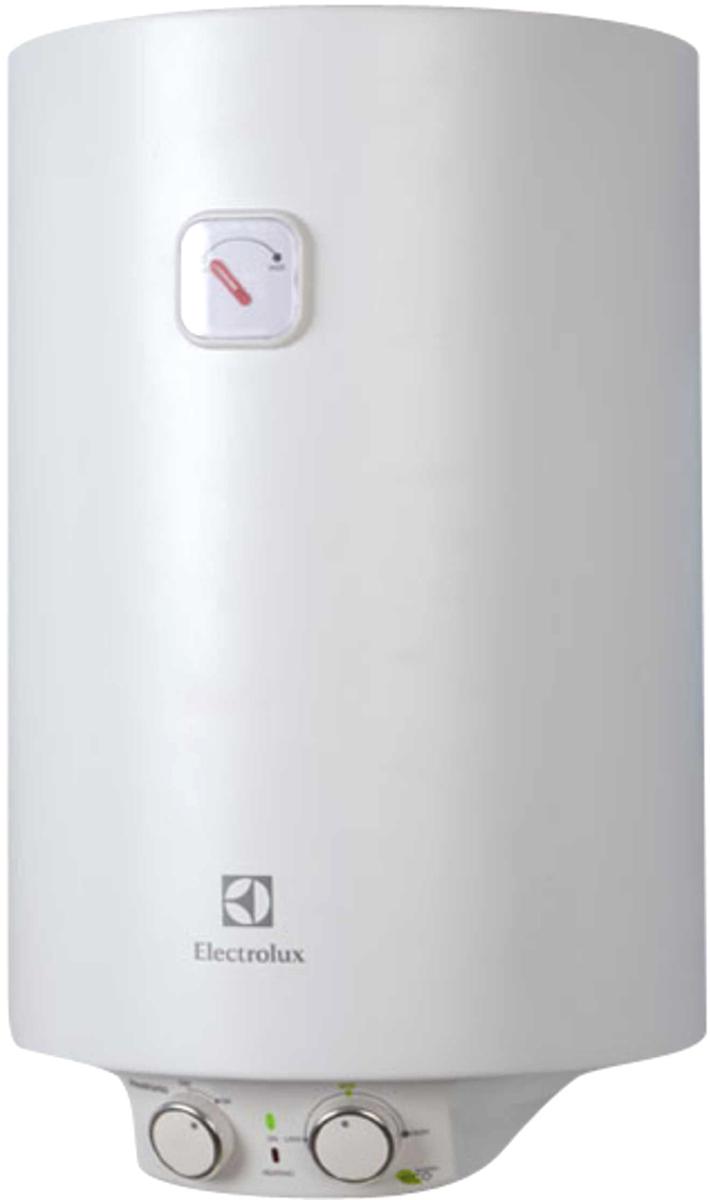 """Electrolux EWH 50 Heatronic Slim DryHeat - электрический накопительный водонагреватель с эмалированным   покрытием бака в круглом дизайне оборудован одним нагревательным элементом мощностью 1500 Вт.   Основное преимущество модели EWH 50 Heatronic Slim DryHeat – это узкий диаметр (34 см), позволяющий   разместить прибор практически в любой сантехнической нише.    Система """"СУХИХ"""" независимых ТЭНов – """"X-HEAT"""" - это два независимых """"сухих"""" нагревательных элемента,   которые не имеют прямого контакта с водой. ТЭНы располагаются в специальных металлических кожухах,   закрепленных на фланце в нижней части бака, что ограничивает образование накипи на ТЭНах. Независимая   работа ТЭНов дает возможность водонагревателю продолжать работу в случае неисправности одного из них.   Система """"X-Heat"""" значительно увеличивает срок службы водонагревателя.    На нижней крышке водонагревателя расположена удобная панель управления. На ней размещены ручка   включения прибора и ручка терморегулятора, с помощью которой можно задать нужную температуру нагрева   воды в диапазоне от 30 до 75°С. При выборе на панели управления функции экономного режима (положение   """"ЕCO""""), вода будет нагреваться до температуры 55°С. При такой температуре повышается рабочий ресурс   ТЭНа, происходит обеззараживание воды и практически не образуется накипь.    За многоуровневую защиту внутреннего бака от коррозии в модели EWH 50 Heatronic Slim DryHeat отвечает   система Protect tank, которая включает в себя специальный высокопрочный сплав, стеклоэмаль, а также   магниевый анод увеличенной массы. Кроме того, надежную работу водонагревателя обеспечивает   предохранительный клапан с функцией слива, который защищает прибор от избыточного давления внутри   бака.    Внутри водонагревателя EWH 50 Heatronic Slim DryHeat установлен специальный термостат, который   срабатывает при нагреве воды в баке до показателя 85°С, что обеспечивает защиту прибора от перегрева.    Для эффективной теплоизоляции приборов использован 22-милли"""