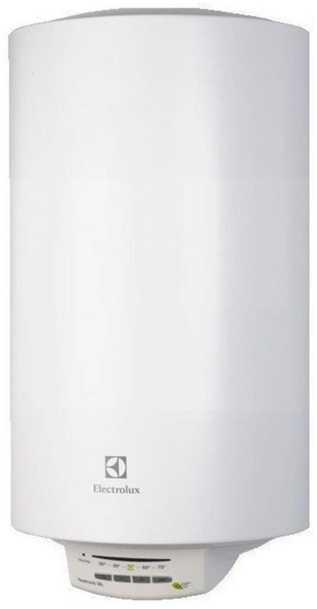 """Electrolux EWH 50 Heatronic DL Slim DryHeat - электрический накопительный водонагреватель с эмалированным   покрытием бака в круглом дизайне оборудован одним нагревательным элементом мощностью 1500 Вт.    Система """"СУХИХ"""" независимых ТЭНов – """"X-HEAT"""" - это два независимых """"сухих"""" нагревательных элемента,   которые не имеют прямого контакта с водой. ТЭНы располагаются в специальных металлических кожухах,   закрепленных на фланце в нижней части бака, что ограничивает образование накипи на ТЭНах. Независимая   работа ТЭНов дает возможность водонагревателю продолжать работу в случае неисправности одного из них.   Система """"X-Heat"""" значительно увеличивает срок службы водонагревателя.    На нижней крышке водонагревателя расположена электронная панель управления. На ней размещены кнопки, с   помощью которых можно установить нужную температуру нагрева воды в диапазоне от 30 до 75°С. При выборе   на панели управления функции экономного режима (положение """"ЕCO""""), вода будет нагреваться до   температуры 55°С. При такой температуре повышается рабочий ресурс ТЭНа, происходит обеззараживание   воды и практически не образуется накипь.    В модели EWH 50 Heatronic DL Slim DryHeat реализована уникальная технология Multi memory, позволяющая   программировать водонагреватель, устанавливая в его памяти до трех индивидуальных температур нагрева   воды. Каждая из настроек запоминает любимую температуру пользователя, которую он может выбирать без   дополнительных регулировок при помощи кнопки установки режимов. Настройки сохраняются даже при   отключении электропитания. После возобновления подачи энергии водонагреватель продолжит нагрев до   необходимой температуры.    За многоуровневую защиту внутреннего бака от коррозии в модели EWH 50 Heatronic DL Slim DryHeat отвечает   система Protect tank, которая включает в себя специальный высокопрочный сплав, стеклоэмаль, а также   магниевый анод увеличенной массы. Кроме того, надежную работу водонагревателя обеспечивает   предохранительный клапан с"""