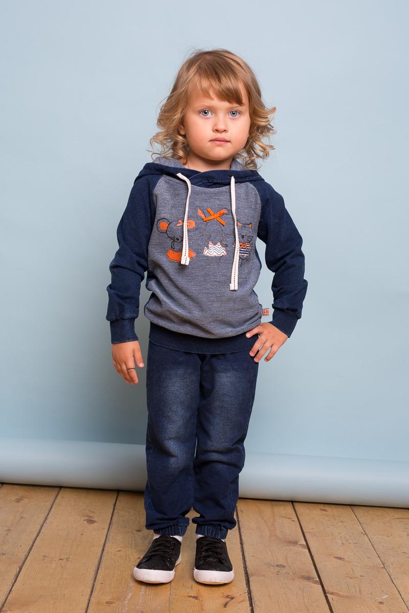 Толстовка для девочки Sweet Berry Baby, цвет: темно-серый. 732062. Размер 80732062Трикотажная толстовка для девочки темно-синего цвета под джинсу с капюшоном. Декорированная оригинальным принтом.