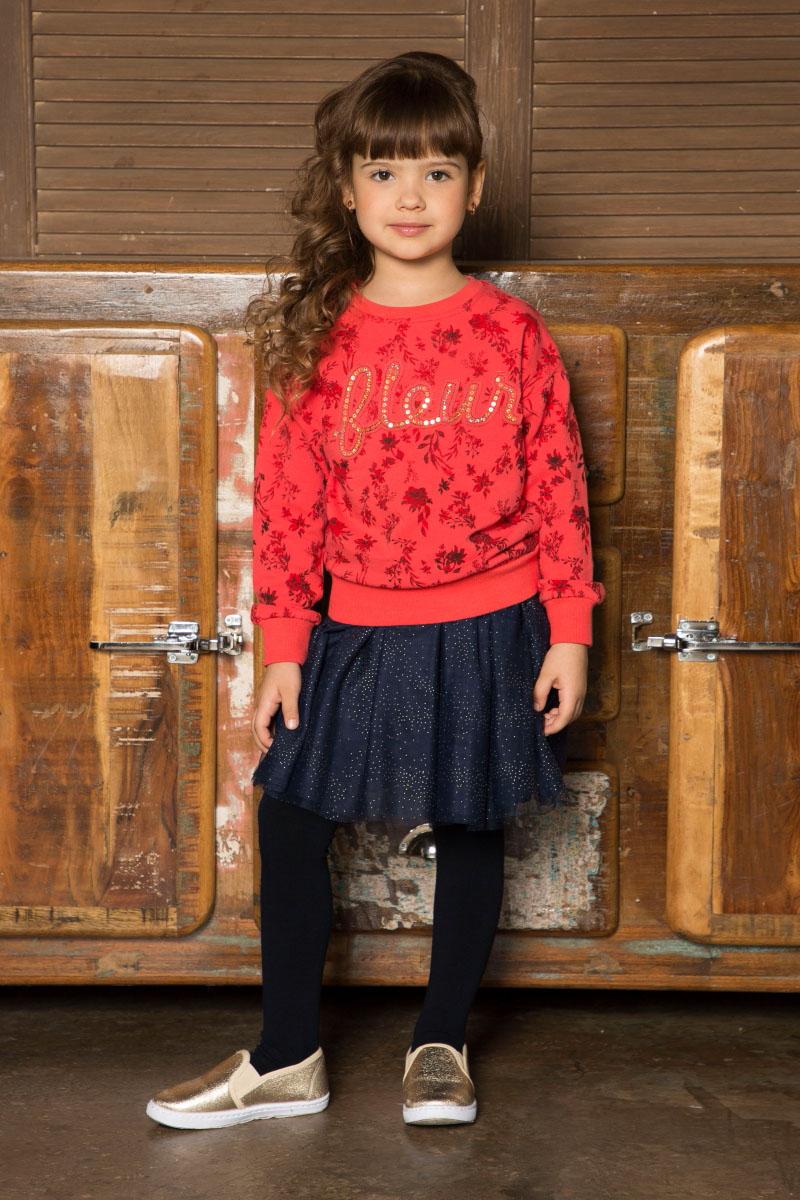 Свитшот для девочки Sweet Berry, цвет: красный. 734134. Размер 116734134Яркий свитшот для девочки от Sweet Berry выполнен из трикотажного полотна с цветочным печатным рисунком. Округлый вырез горловины, длинный рукав.