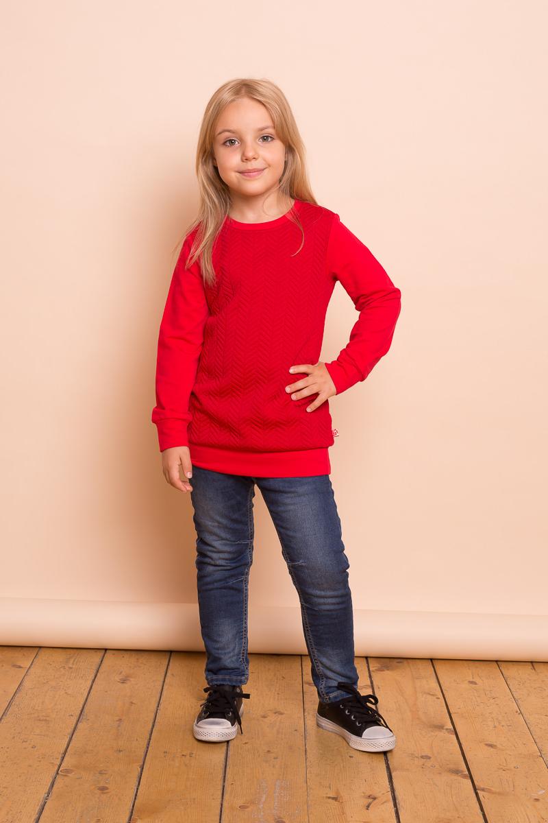Толстовка для девочки Sweet Berry, цвет: красный. 734142. Размер 128734142Яркая удлиненная толстовка для девочки из печатного трикотажного полотна. Округлый вырез горловины, длинный рукав.