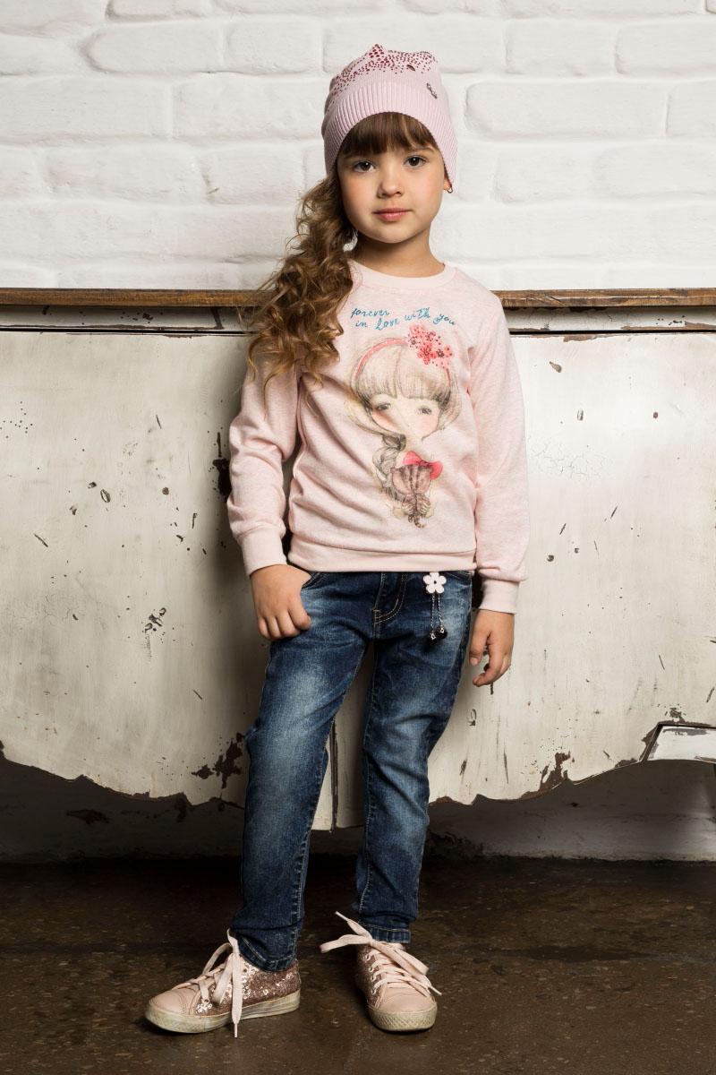 Свитшот для девочки Sweet Berry, цвет: розовый. 734010. Размер 104734010Свитшот для девочки от Sweet Berry выполнен из мягкого трикотажного полотна с оригинальным принтом. Модель с длинными рукавами и круглым вырезом горловины.