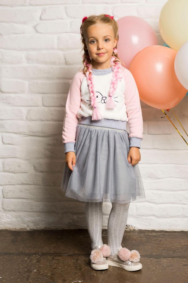 Толстовка для девочки Sweet Berry, цвет: розовый. 734037. Размер 122734037Утепленная толстовка для девочки из мягкого трикотажного полотна с начесом. Декорированная вышивкой и контрастной отделкой горловины, манжет рукавов и низа изделия.