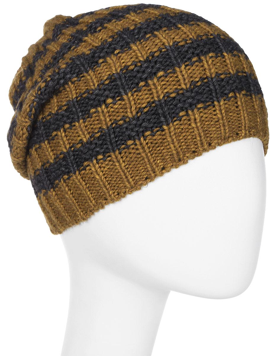 Шапка мужская Marhatter, цвет: желтый, темно-серый. Размер 57/59. MMH6536/1MMH6536/1Отличная вязаная шапка в стиле сasual. Модель прекрасно подойдет активным молодым людям, ценящим комфорт и удобство. Идеальный вариант на каждый день.