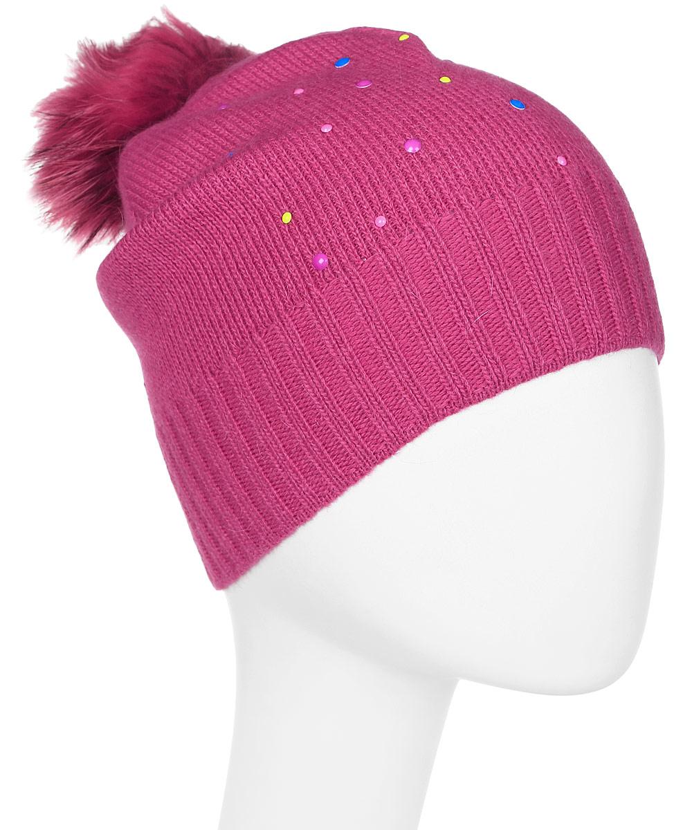 Шапка женская Marhatter, цвет: фуксия. Размер 56/58. MWH5996MWH5996Стильная шапка с помпоном из натурального меха, выполнена из ангоровой пряжи. Модель очень актуальна для тех, кто ценит комфорт, стиль и красоту.