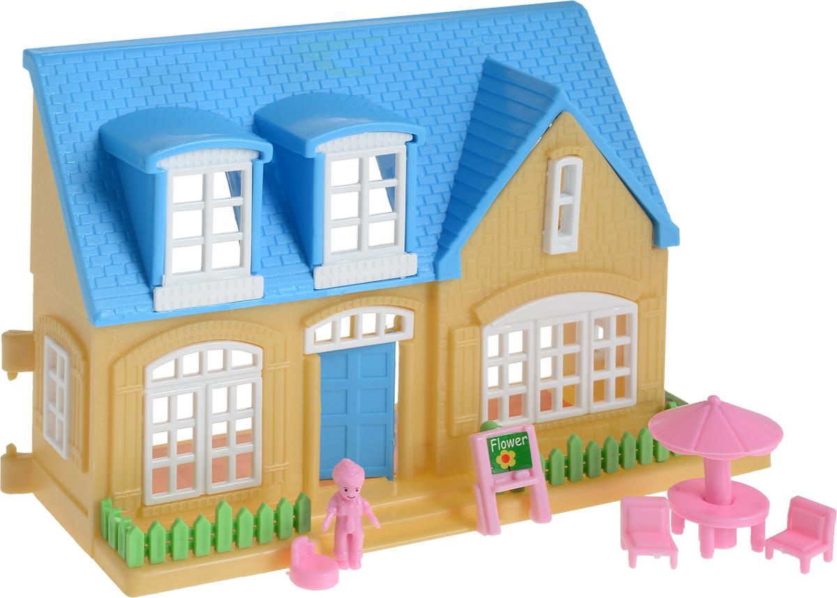 EstaBella Кукольный домик Солнечный городок улица Зеленая дом 1 с террасой цвет голубой кукол домик