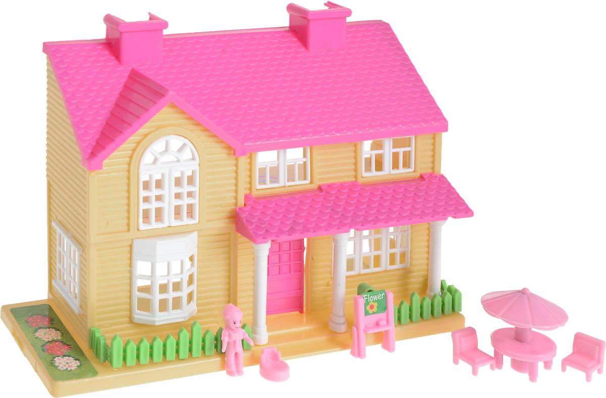 EstaBella Кукольный домик Солнечный городок улица Зеленая дом 1 с террасой цвет розовый кукольный домик лего 10505 купить