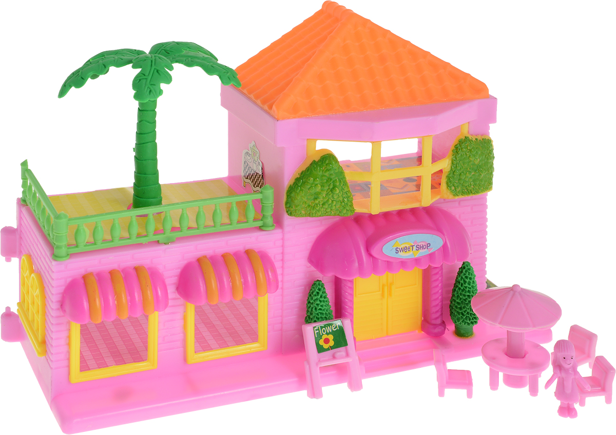 EstaBella Кукольный домик Солнечный городок улица Зеленая дом 1 с террасой цвет оранжевый кукол домик