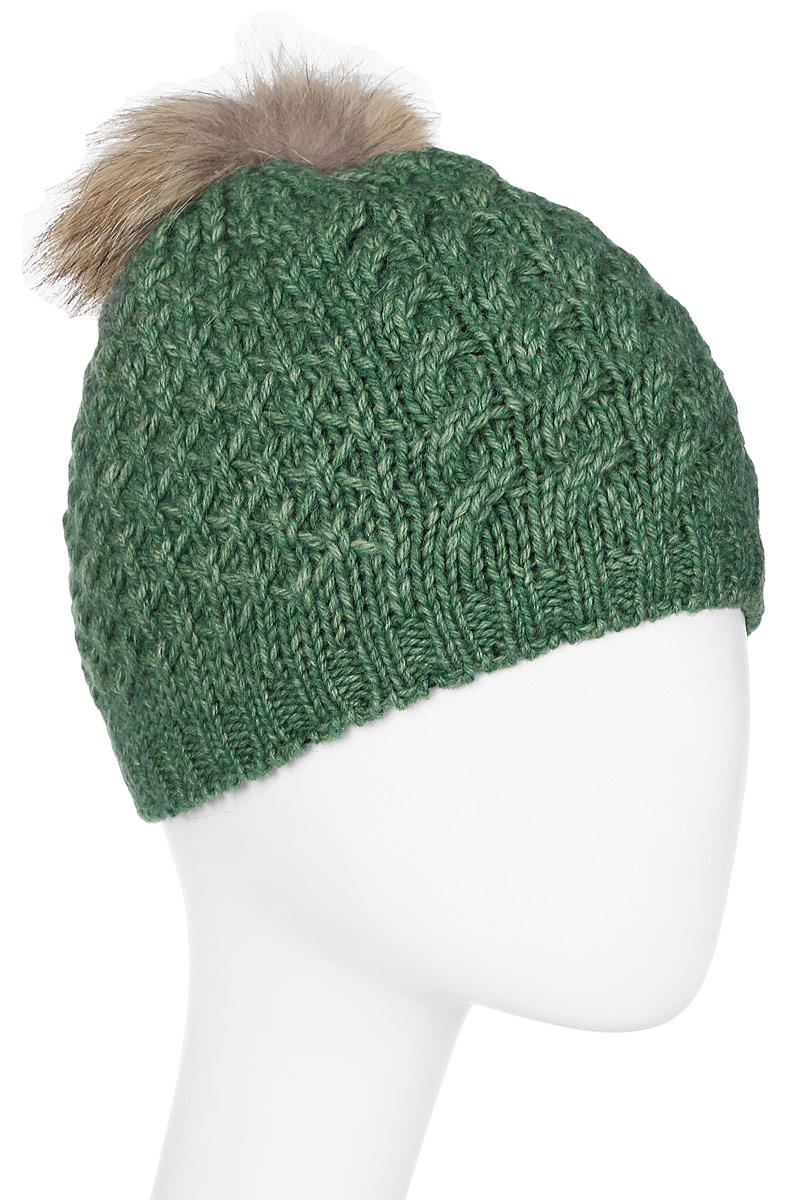 Шапка женская Marhatter, цвет: зеленый. Размер 56/58. MWH6754/2MWH6754/2Стильная шапка с помпоном из натурального меха, выполнена из ангоровой пряжи. Модель очень актуальна для тех, кто ценит комфорт, стиль и красоту.