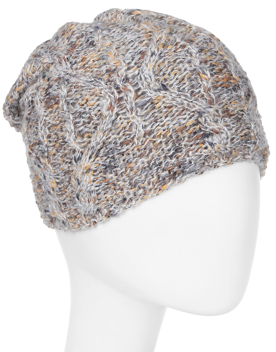 Шапка женская Marhatter, цвет: светло-серый. Размер 56/58. MWH7157/2MWH7157/2Стильная женская шапка с отворотом выполнена из фантазийной объемной пряжи. В составе пряжи содержится мохер, что делает ее теплой в холодную погоду. Модель утеплена флисом.