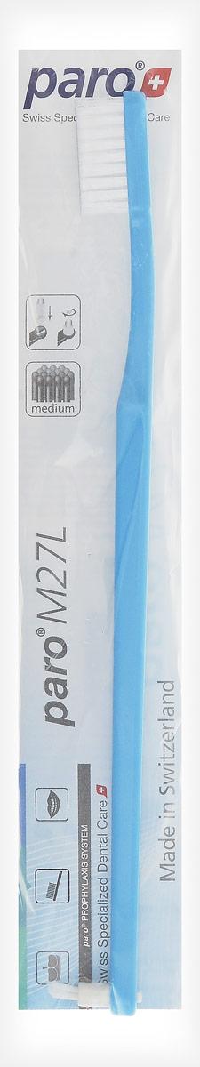 Paro Зубная щетка M27L, с монопучком на конце, цвет: голубой738_голубойЗубная щетка средней жесткости с монопучковой насадкой
