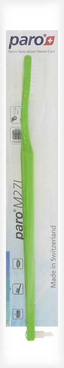 Paro Зубная щетка M27L, с монопучком на конце, цвет: зеленый738_зеленыйЗубная щетка средней жесткости с монопучковой насадкой