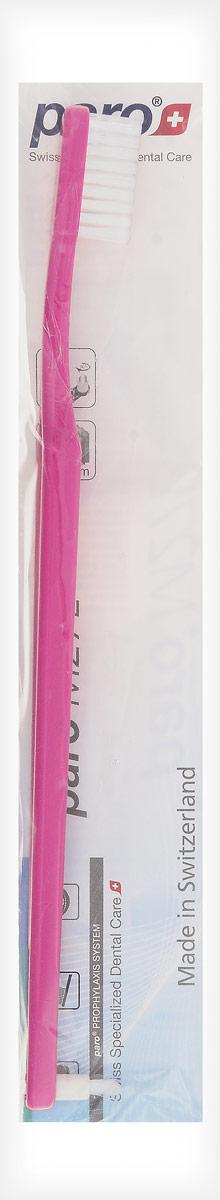 Paro Зубная щетка M27L, с монопучком на конце, цвет: розовый738_розовыйЗубная щетка средней жесткости с монопучковой насадкой