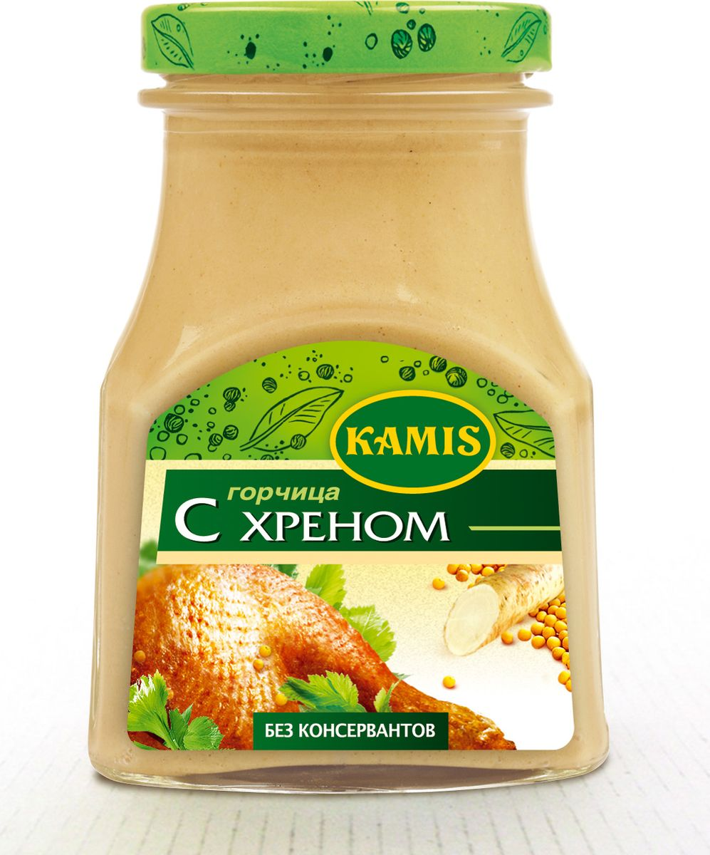 Kamis горчица с хреном, 185 г kamis имбирь молотый 15 г