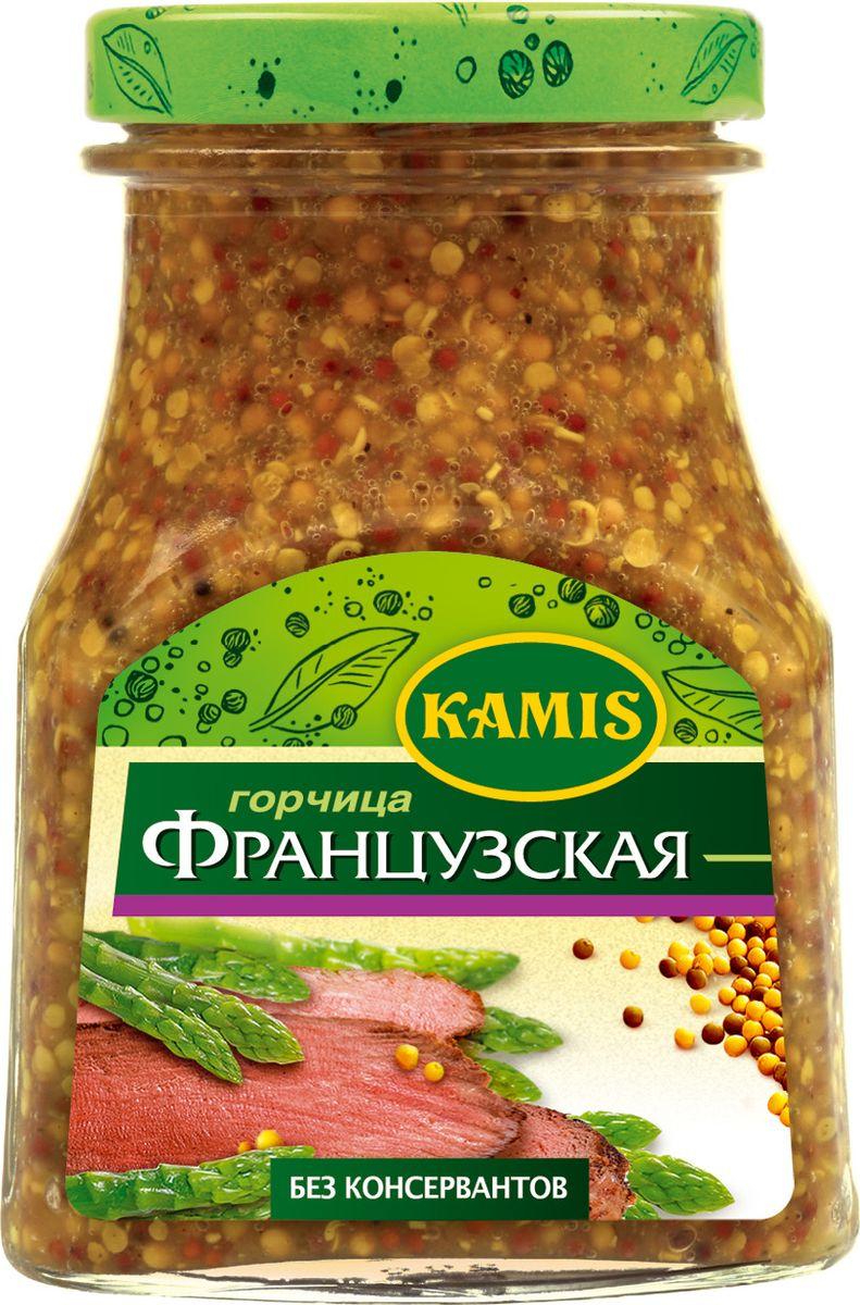 Kamis горчица французская, 185 гRC06-NФранцузская горчица Kamis представляет собой крупнозернистую (целые зерна белой горчицы), умеренно острую горчицу европейского типа.Пищевая ценность 100 г продукта: белки 6,6 г, жиры 9,9 г, углеводы 9,5 г.