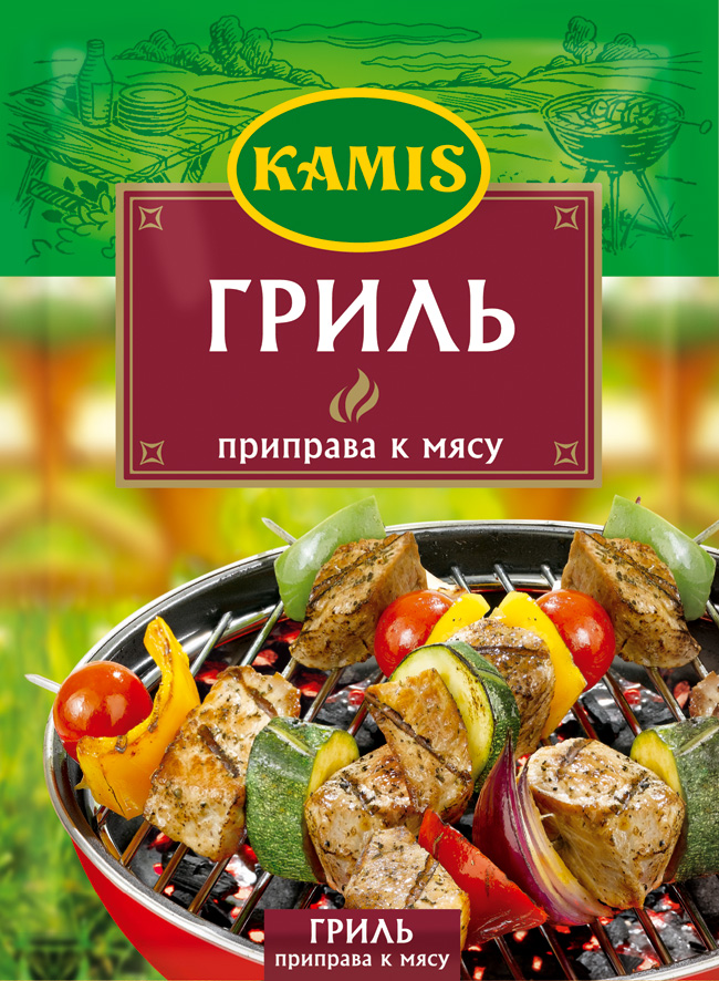 Kamis приправа к мясу на гриле, 25 гYA05-RВсегда чувствуется, когда еда приготовлена с любовью! Вдохновляйтесь приправами Kamis, готовьте блюда, полные любви, и делитесь настоящими чувствами с самыми близкими.Приправа к мясу на гриле Kamis – это ароматная композиция с овощами, травами и специями, созданная экспертами Kamis для особого вкуса ваших мясных блюд, приготовленных на огне. Подходит для любого вида мяса, а также птицы,как для жарки на решетке гриля, так и на шампурах. Аромат: пряный, сладковатый, с оттенками гвоздики, нотами кориандра и чеснока. Вкус: пряный, умеренно острый.Пищевая ценность 100 г продукта: белки 9,5 г, жиры 7,1 г, углеводы 25,2 г.Приправы для 7 видов блюд: от мяса до десерта. Статья OZON Гид