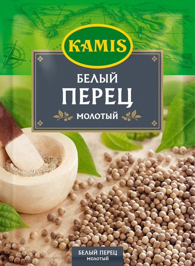 Kamis белый перец молотый, 20 г черный перец молотый mensperis классический 35 г