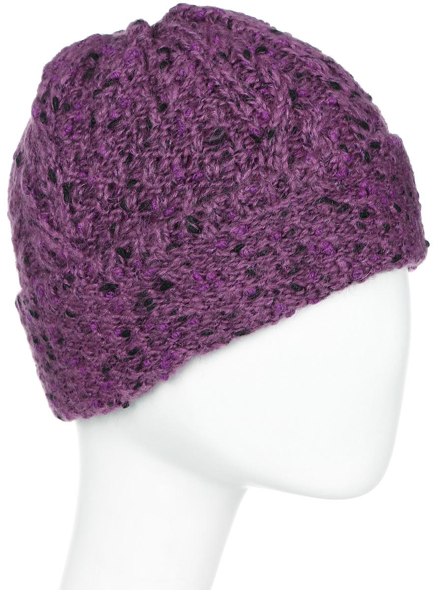 Шапка женская Snezhna, цвет: фиолетовый. Размер 56/58. SWH6084/2SWH6084/2Стильная женская шапка с отворотом выполнена из фантазийной объемной пряжи. В составе пряжи содержится мохер, что делает ее теплой в холодную погоду. Модель утеплена флисом.