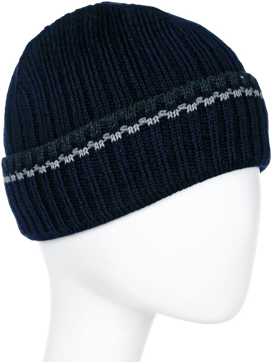 Шапка мужская Marhatter, цвет: темно-синий. Размер 57/59. MMH5329/2MMH5329/2Замечательная теплая шапка, декорирована контрастным оригинальным рисунком. Модель идеально сидит по форме головы. Изделие прекрасно согреет вас в холодное время года.
