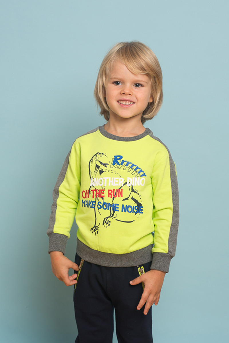 Свитшот для мальчика Sweet Berry Baby, цвет: салатовый, серый. 731018. Размер 98