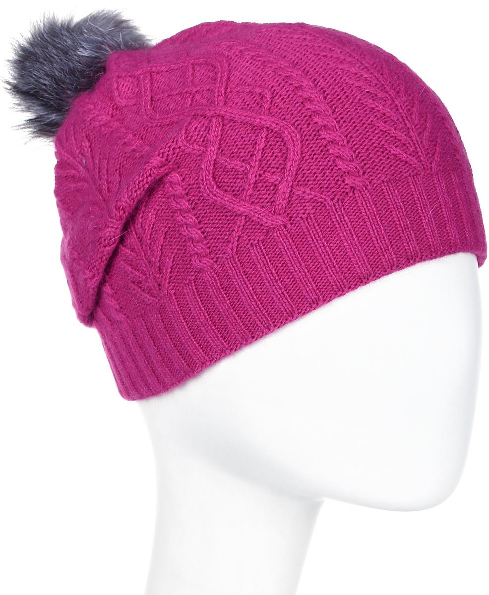 Шапка женская Marhatter, цвет: фуксия. Размер 56/58. MWH5630/3MWH5630/3Стильная шапка с помпоном из натурального меха, выполнена из ангоровой пряжи. Модель очень актуальна для тех, кто ценит комфорт, стиль и красоту.