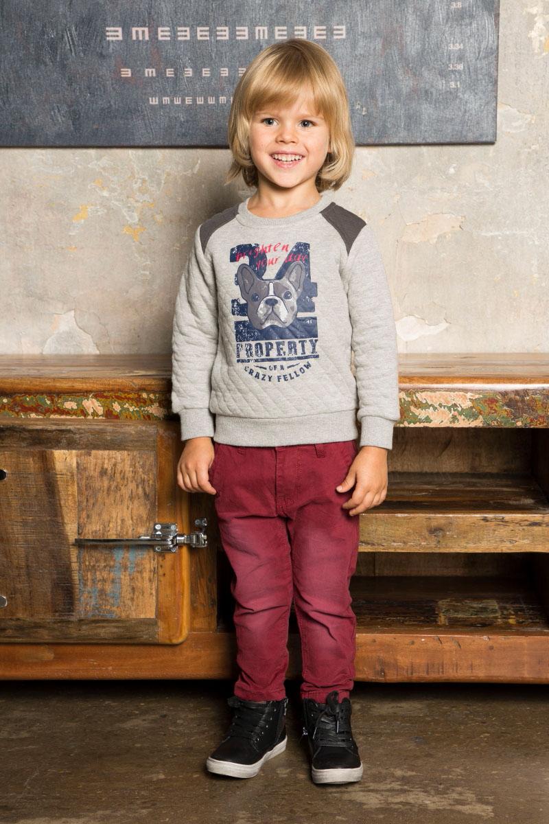 Толстовка для мальчика Sweet Berry Baby, цвет: серый. 731065. Размер 98731065Толстовка из печатного трикотажа серого цвета для мальчика, декорированная анималистическим принтом и контрастной отделкой рукавов. Округлый вырез горловины, длинный рукав.