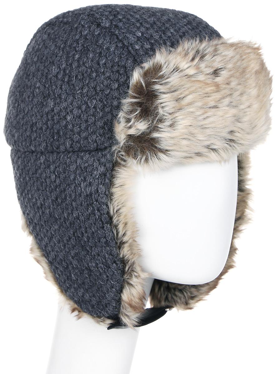 Шапка женская Luhta, цвет: серый, бежевый. 838610325LV-817. Размер M (56)838610325LV-817Теплая шапка-ушанка Luhta выполнена из шерсти и полиэстера. Дополнена шапочка ажурным плетением. Модель застегивается на ремешок с липучкой. Дополнено изделие отделкой из искусственного меха.