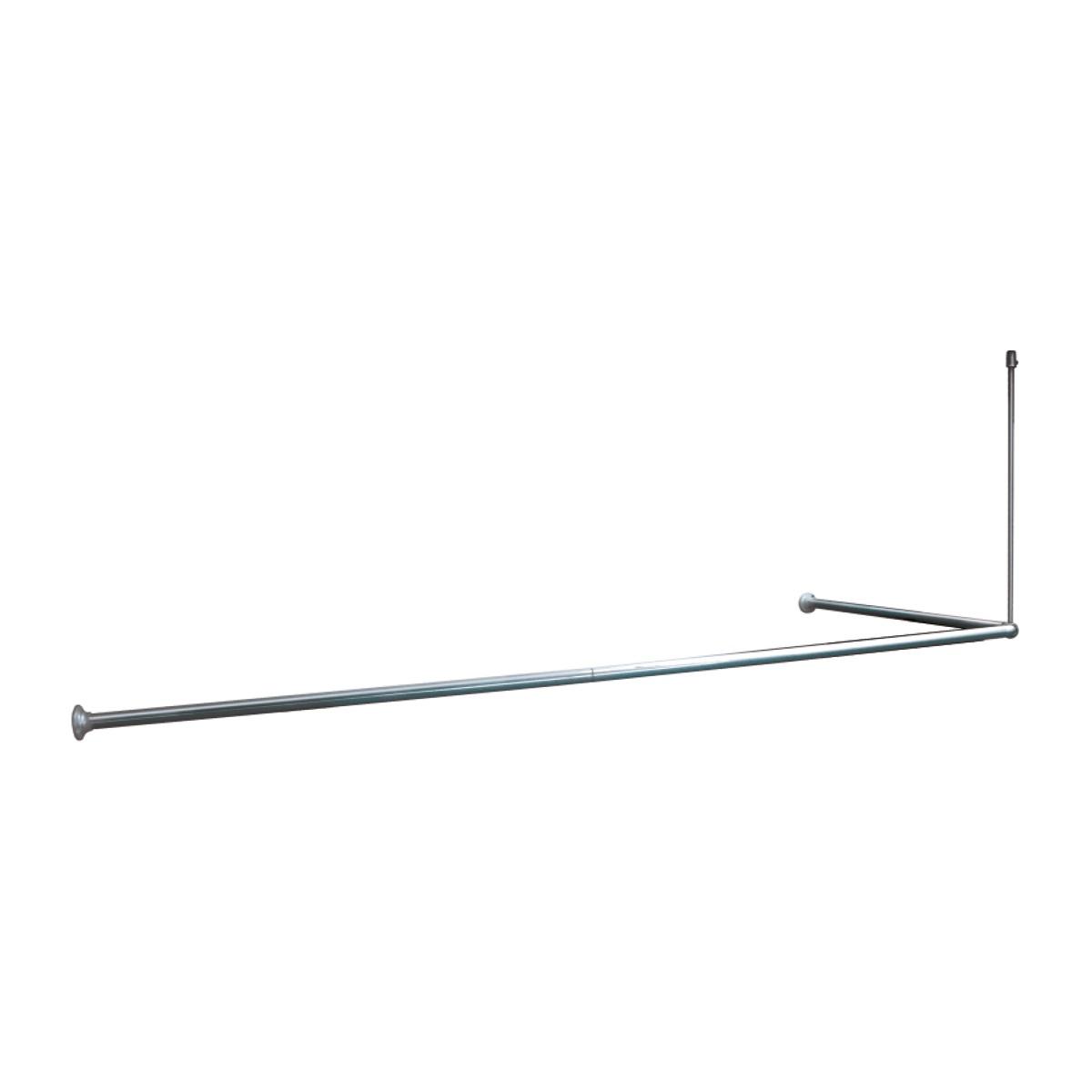 Карниз для ванной Iddis, угловой, цвет: глянцевый хром050A200I14Угловой 90*90*90(90*180)см, хромированный, алюминиевый карниз. Диаметр трубки 25мм, толщина трубки 0,5мм, с креплением к потолку
