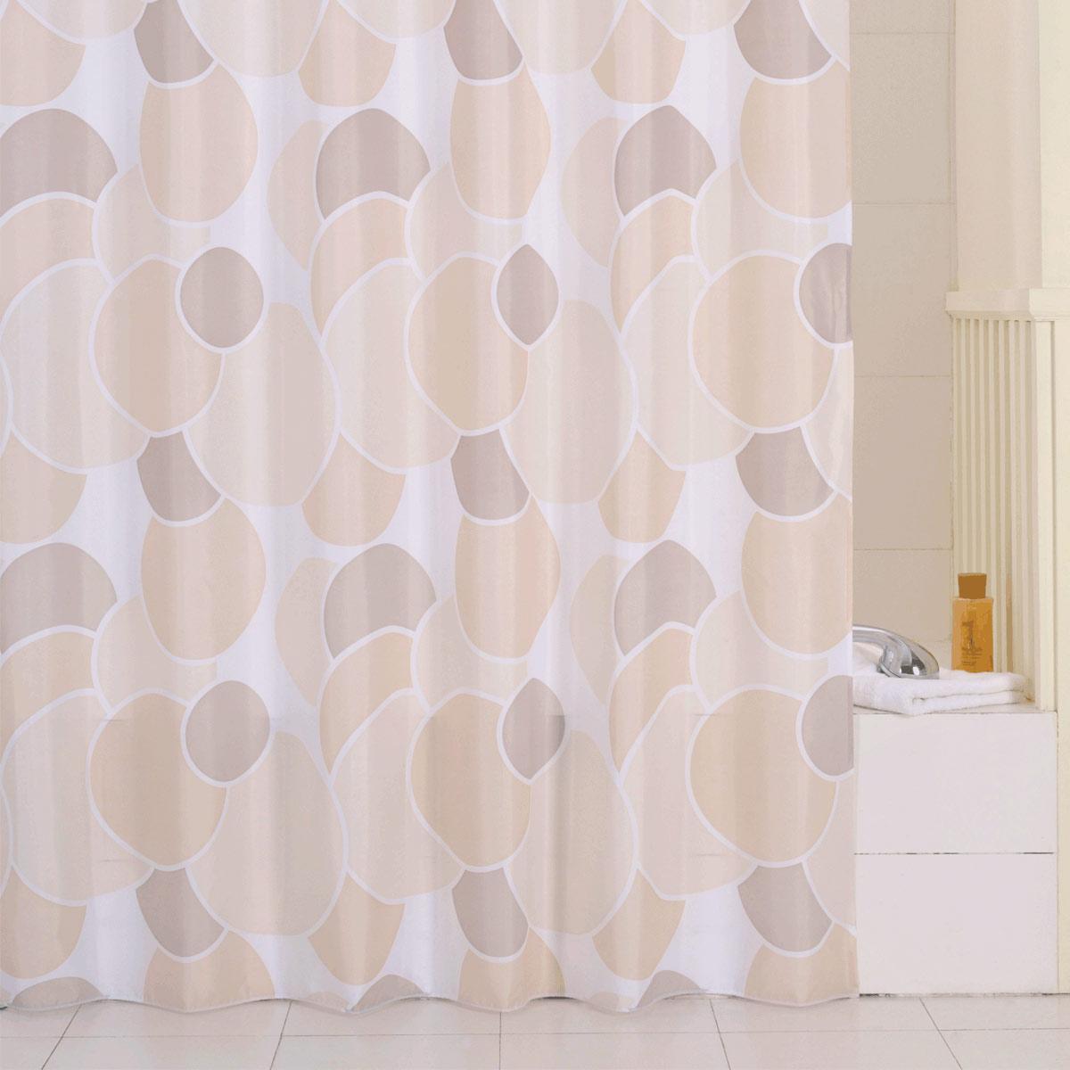 Штора для ванной Iddis Cream Balls, цвет: бежевый, 200 x 240 см230P24RI11материал: текстиль, 100% полиэстер, водоотталкивающая пропитка, кольца в комплекте c системой Click, упаковка ПВХ пакет, плотность 110 г/м, 12 металл. люверсов,