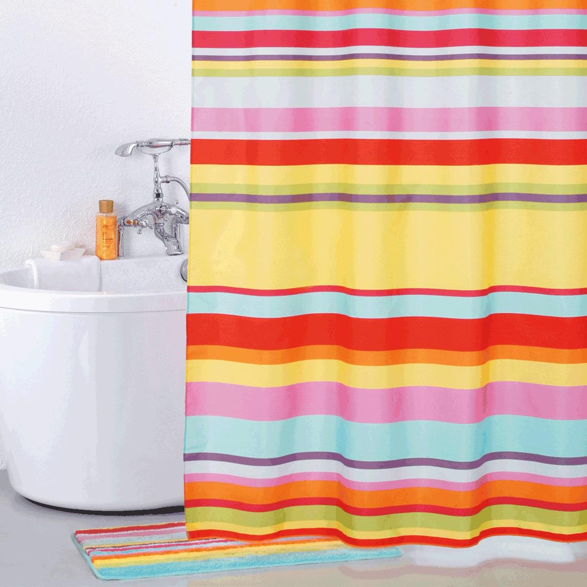Штора для ванной Iddis Summer Stripes, цвет: мультиколор, 200 x 200 см290P24RI11материал: текстиль, 100% полиэстер, водоотталкивающая пропитка, кольца в комплекте c системой Click, упаковка ПВХ пакет, плотность 110 г/м, 12 металл. люверсов,
