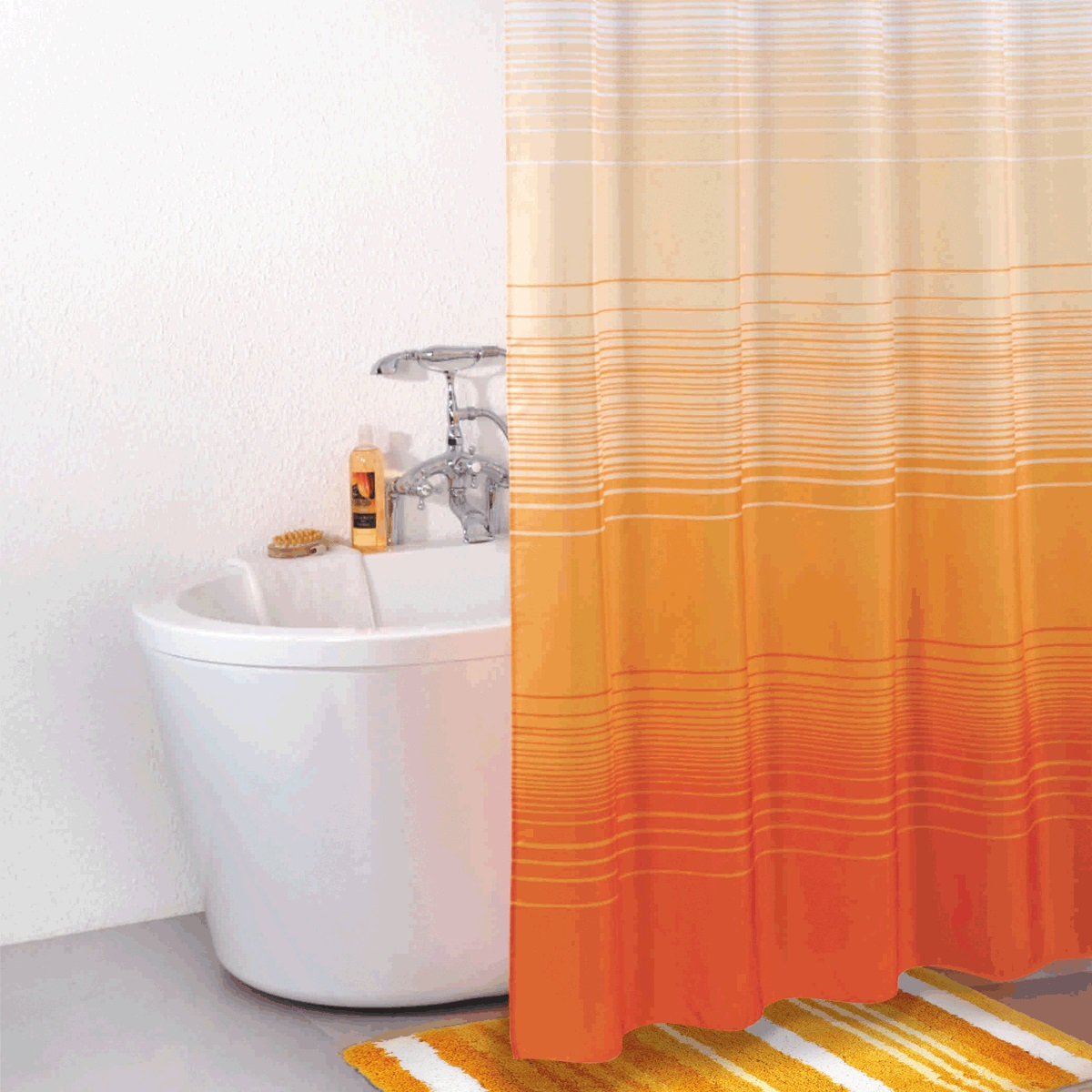Штора для ванной Iddis Orange Horizon, цвет: оранжевый, 200 x 200 см300P20RI11материал: текстиль, 100% полиэстер, водоотталкивающая пропитка, кольца в комплекте, упаковка ПВХ пакет, плотность 110 г/м, 12 металлических люверсов, 12 колец в комплекте