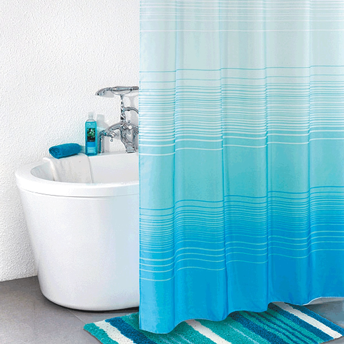 Штора для ванной Iddis Blue Horizon, цвет: синий, 200 x 200 см301P20RI11материал: текстиль, 100% полиэстер, водоотталкивающая пропитка, кольца в комплекте, упаковка ПВХ пакет, плотность 110 г/м, 12 металлических люверсов, 12 колец в комплекте