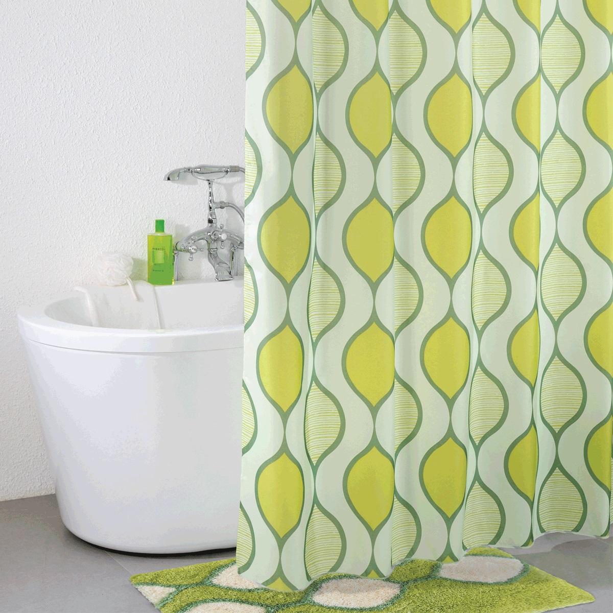 Штора для ванной Iddis Curved Lines Green, цвет: зеленый, 200 x 200 см штора для ванной iddis curved lines blue цвет голубой 200 x 200 см