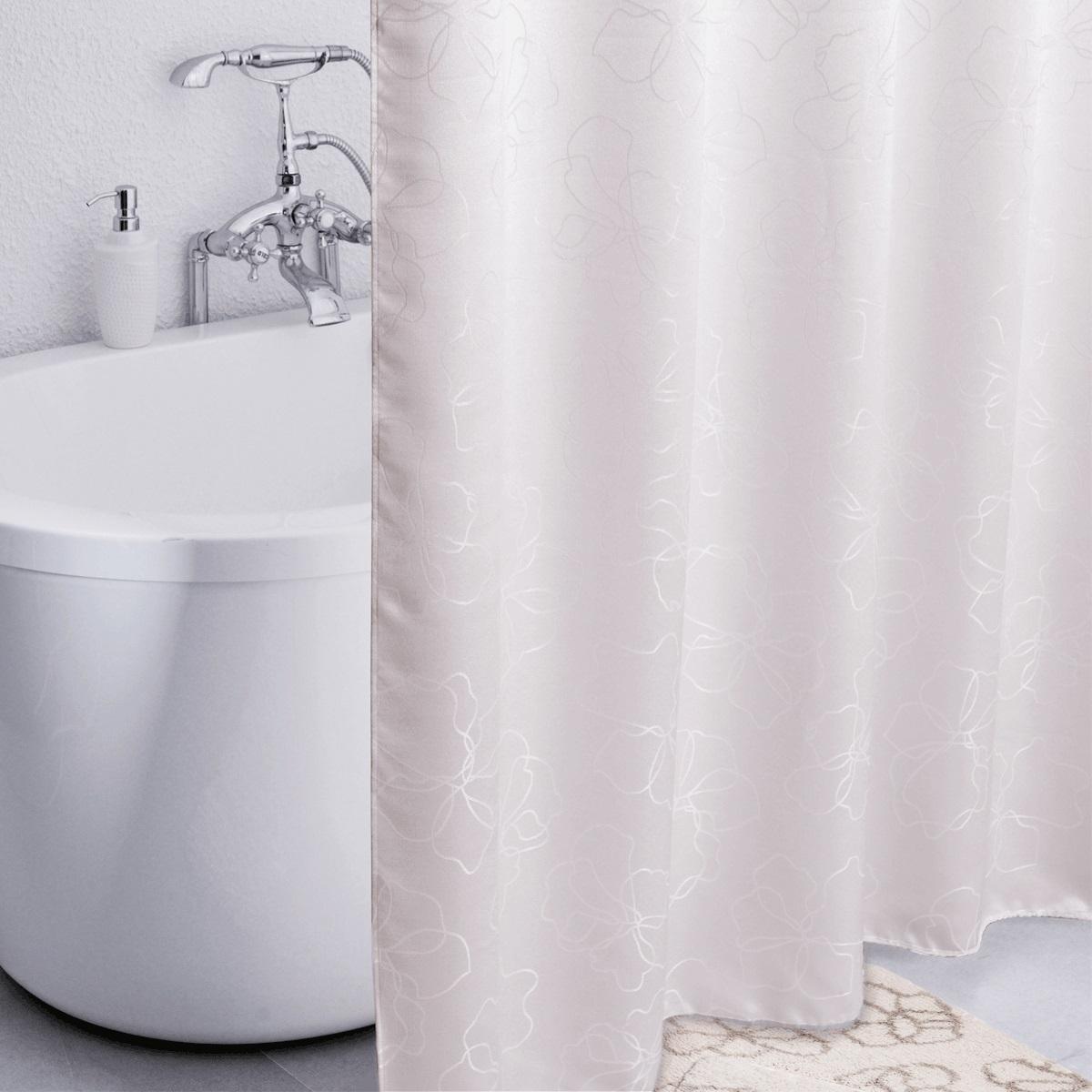 Штора для ванной Iddis Blessed Spring, цвет: белый, 180 x 200 см490J200i11Штора для ванной комнаты Iddis выполнена из быстросохнущего материала - жаккарда (100% полиэстер), что обеспечивает прочность изделия и легкость ухода за ним.Материал шторы пропитан специальным водоотталкивающим составом Waterprof.Изделие изготовлено из экологически-чистого материала, оно обладает высокой степенью гигиеничности, не вызывает аллергических реакций.Штора имеет 12 металлических люверсов. В комплекте: штора и кольца с системой Click.