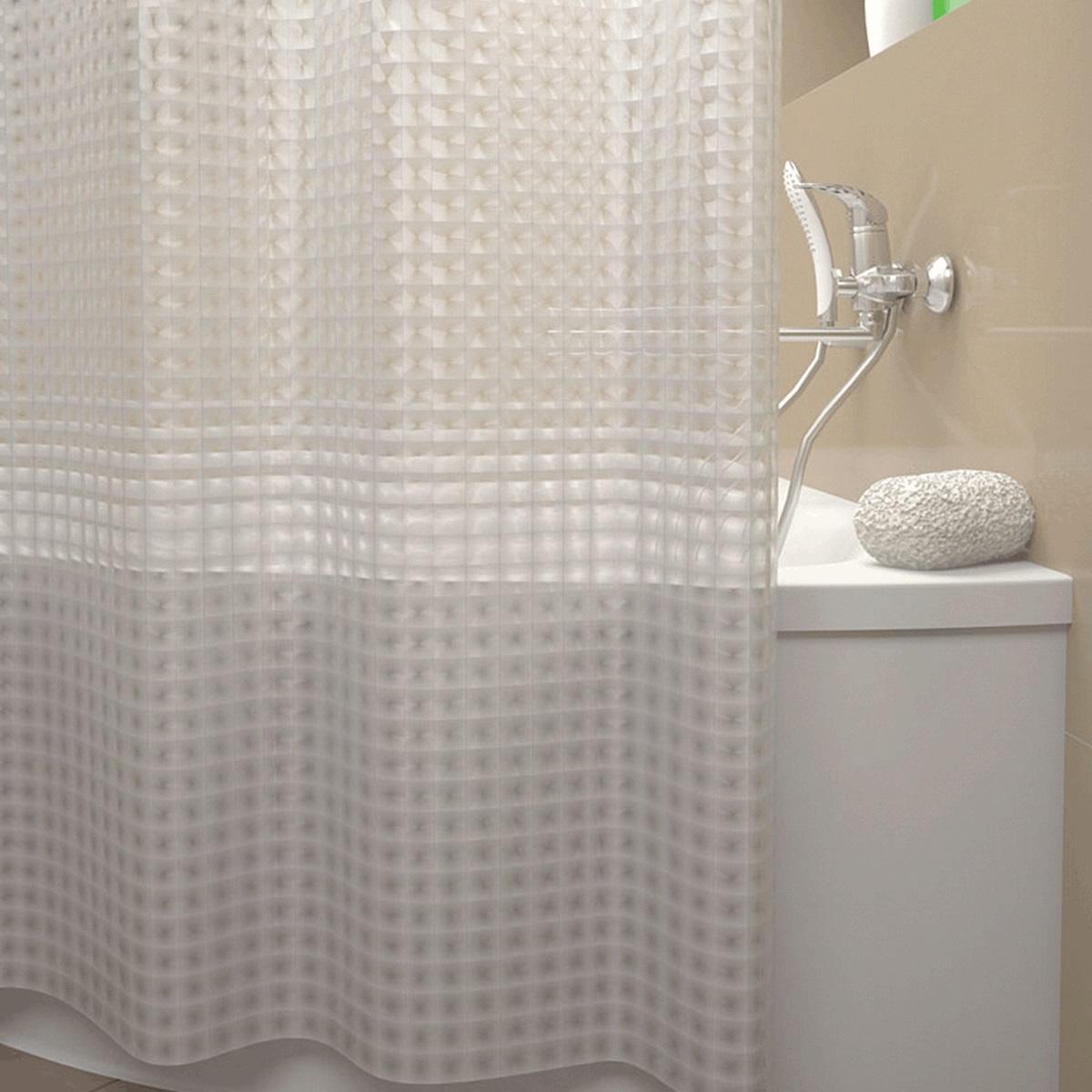 Штора для ванной Iddis Stereo Square, цвет: прозрачный, 180 x 200 см500E18Si11Материал 100% EVA, плотность 184 г/м кв., толщина 0,2 мм, размер 200*180 см, магнитные утяжелители, 12 встроенных колец для крепления к карнизу. Упаковка: ПВХ пакет.