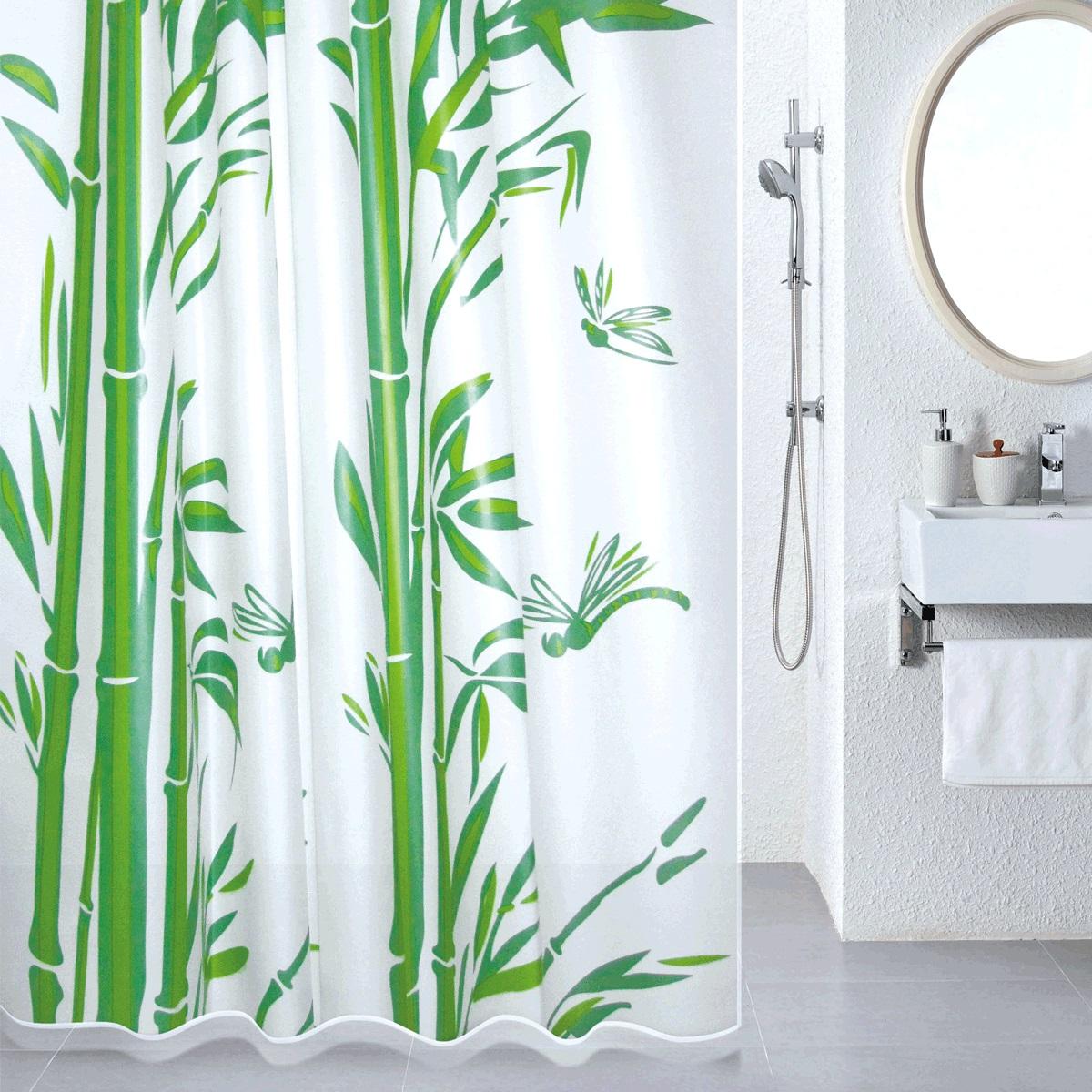 Штора для ванной Milardo Bamboo (green), цвет: зеленый, 180 x 180 см510V180M11материал: PEVA, толщина 0,08 мм, полупрозрачная подложка, упаковка ПВХ пакет, 12 металлических люверсов, кольца в комплекте (12 шт.)