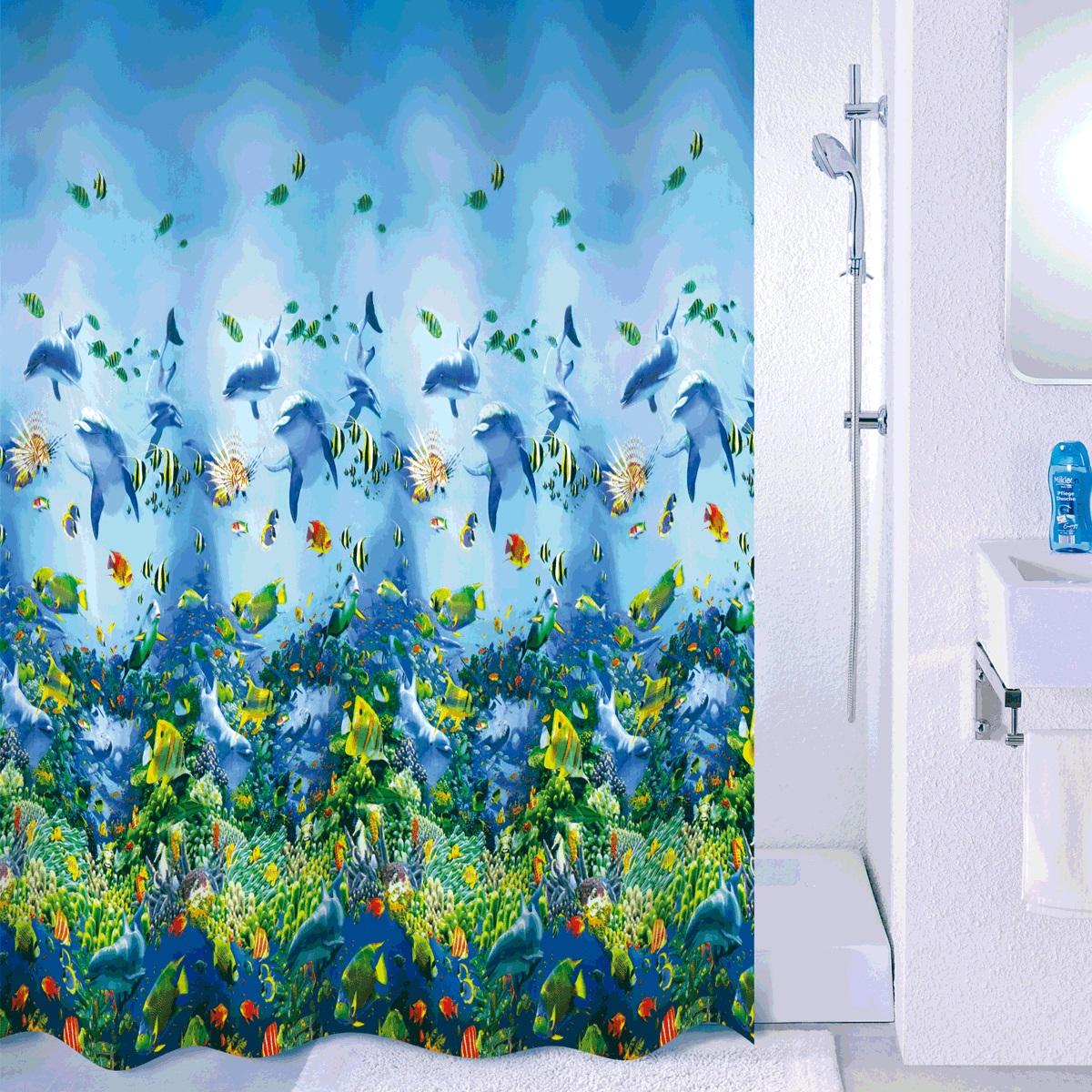 Штора для ванной Milardo Sea life, цвет: голубой, 180 x 180 см526V180M11Материал: PEVA, толщина 0,09 мм, белая подложка, упаковка ПВХ пакет, 12 металлических люверсов, кольца в комплекте (12 шт.)