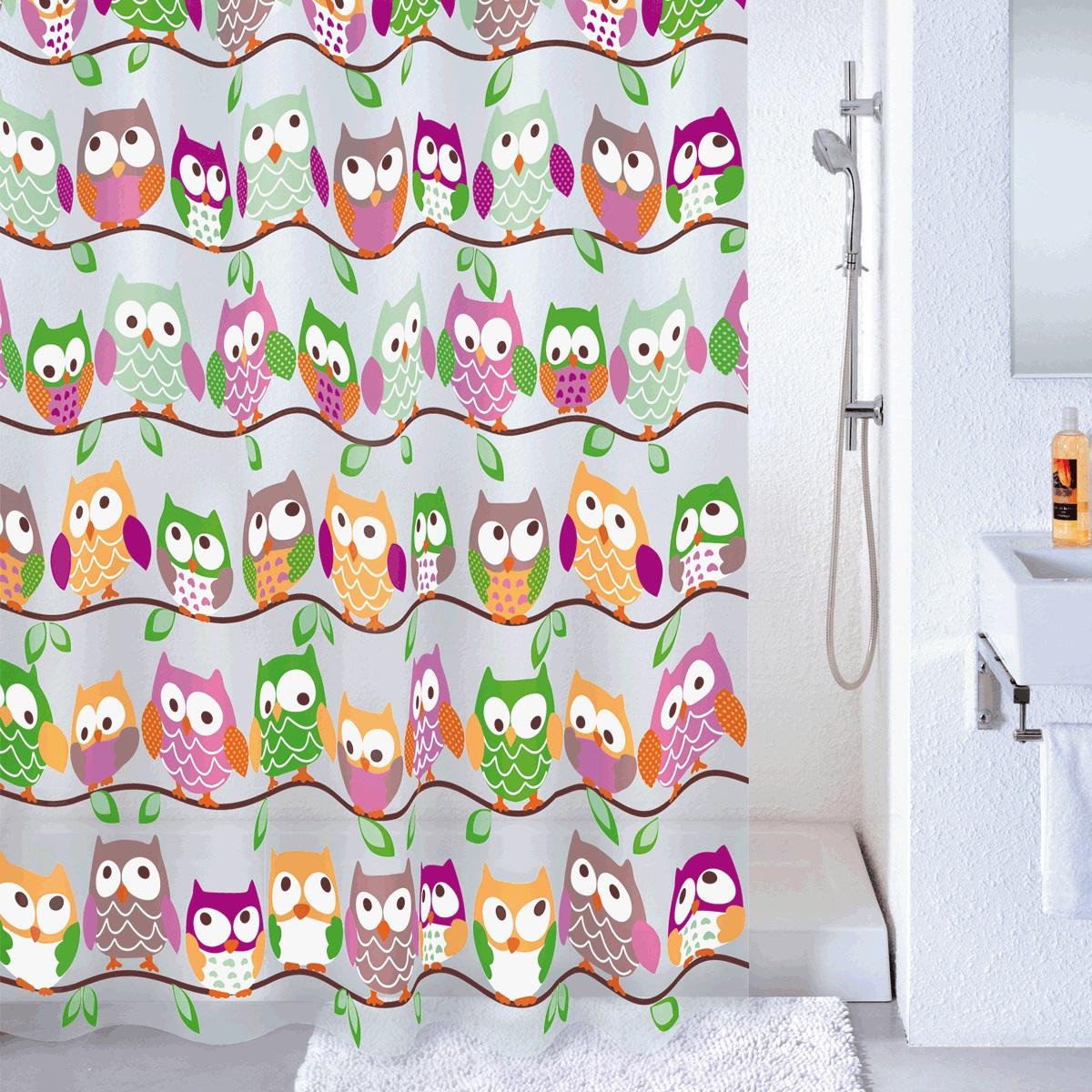 Штора для ванной Milardo Cheeky Owls, цвет: мультиколор, 180 x 180 см530V180M11Штора для ванной Cheeky Owls, изготовленная из Peva - водонепроницаемого, мягкого на ощупь и прочного материала, декорирована изображением забавных совят. Штора идеально защищает ваннуюкомнату от брызг. В верхней кромке шторы предусмотрены металлические отверстия для колец (входят в комплект).Штора Cheeky Owls порадует вас своим ярким дизайном и добавит уюта в ванную комнату. Количество колец: 12 шт.