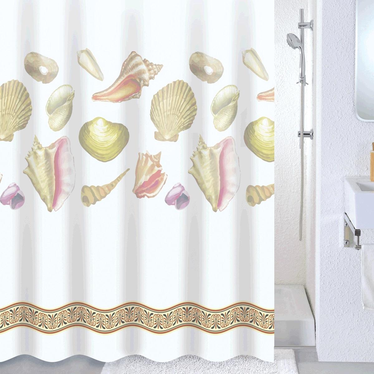 Штора для ванной Milardo Shelly beach, цвет: мультиколор, 180 x 180 см двойная штора для ванной