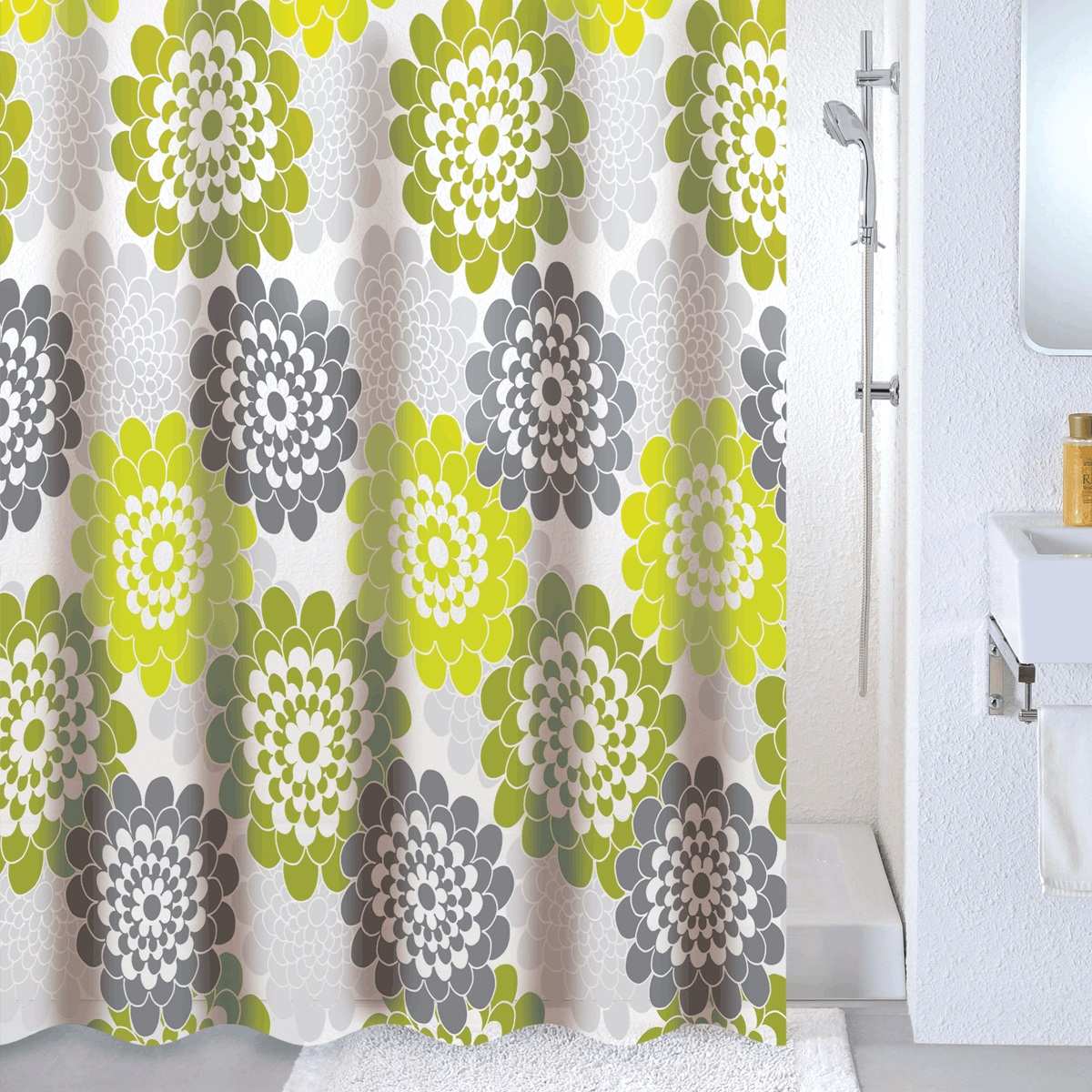 Штора для ванной Milardo Flower lane, цвет: зеленый, 180 x 180 см532V180M11Материал: PEVA, толщина 0,09 мм, белая подложка, упаковка ПВХ пакет, 12 металлических люверсов, кольца в комплекте (12 шт.)