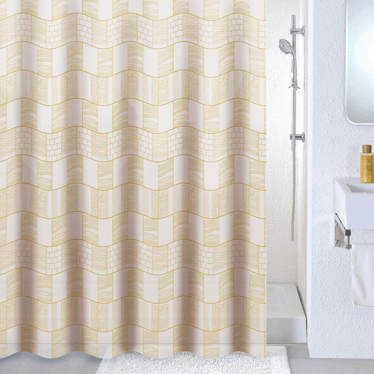 Штора для ванной Milardo Brick wall, цвет: бежевый , 180 x 180 см533V180M11Материал: PEVA, толщина 0,09 мм, белая подложка, упаковка ПВХ пакет, 12 металлических люверсов, кольца в комплекте (12 шт.)