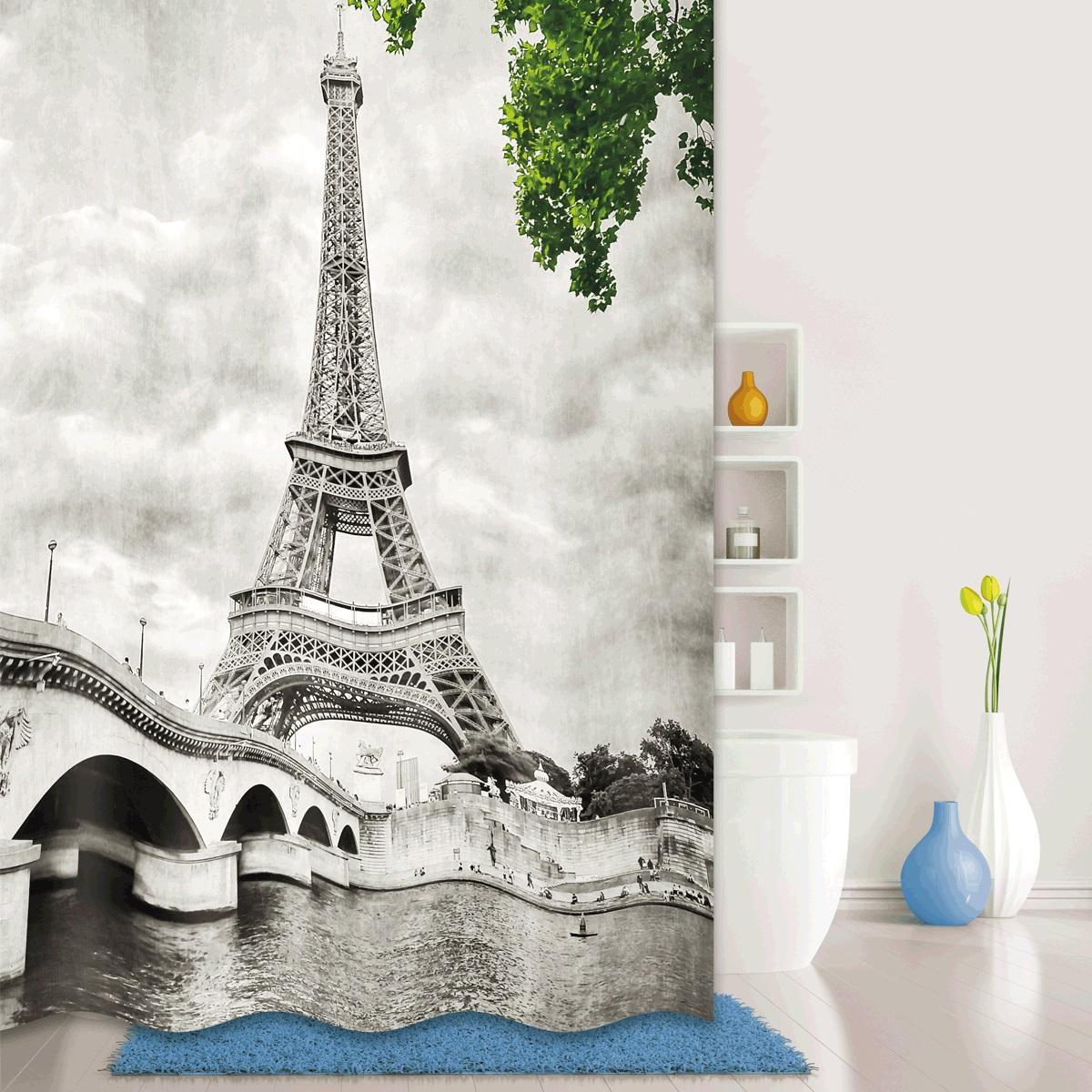 Штора для ванной Iddis Paris Days, цвет: серый, 180 x 200 см541P18Ri11Mатериал: текстиль, 100% полиэстер, плотность 110 г/м, водоотталкивающая пропитка, встроенные кольца для крепления к карнизу (hookless), упаковка ПВХ пакет