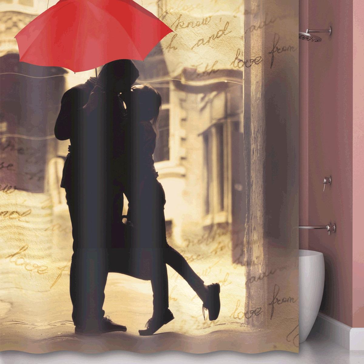 Штора для ванной Iddis L`amour, цвет: бежевый, 180 x 200 см l amour босоножки l amour 120 nero черный