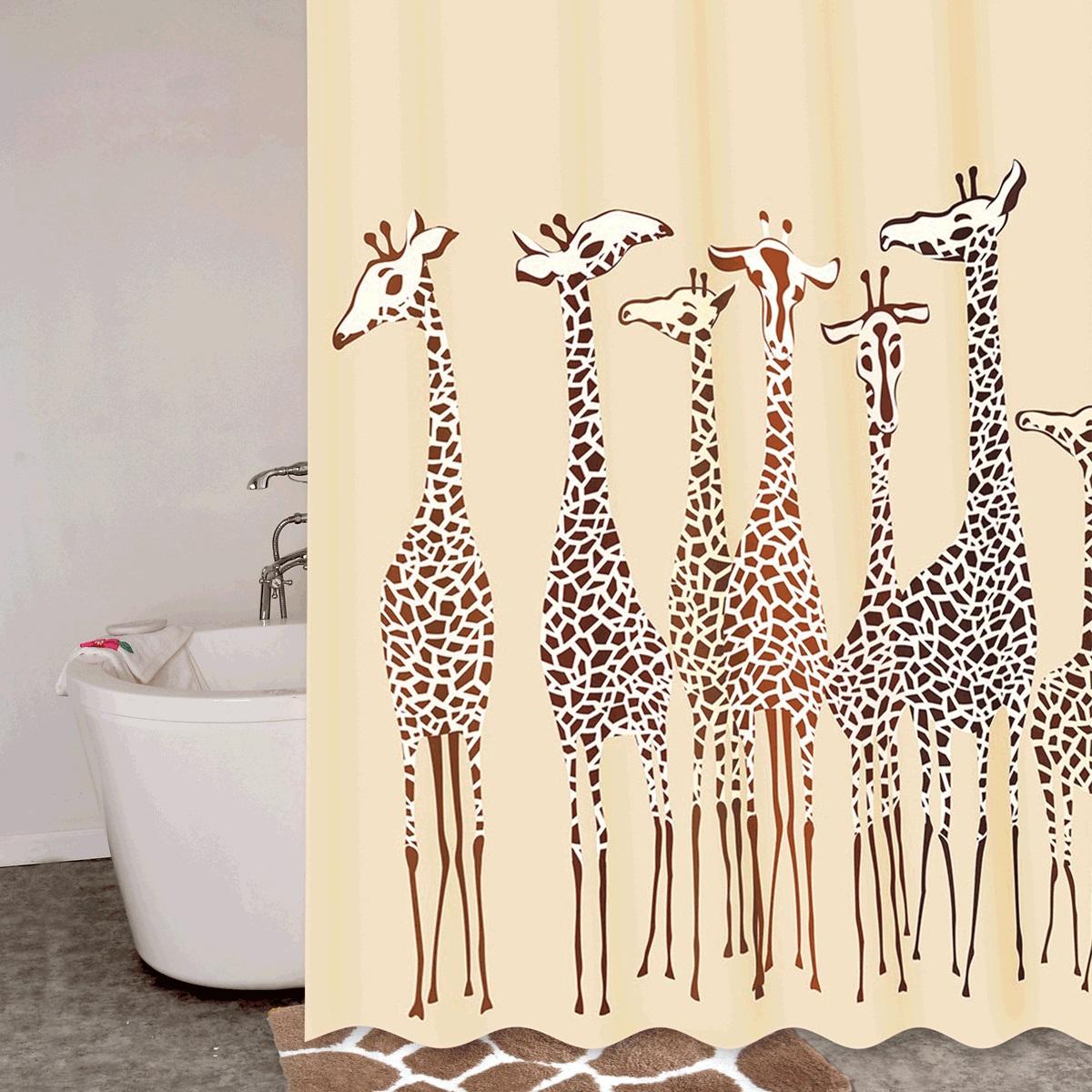 Штора для ванной Iddis Safari Friends, цвет: бежевый, коричневый, 180 x 200 см570P18Ri11Штора для ванной комнаты Iddis выполнена из быстросохнущего материала - 100% полиэстера, что обеспечивает прочность изделия и легкость ухода за ним.Материал шторы пропитан специальным водоотталкивающим составом Waterprof.Изделие изготовлено из экологически-чистого материала, оно обладает высокой степенью гигиеничности, не вызывает аллергических реакций.Штора имеет 12 встроенных колец и утяжеляющую нить.