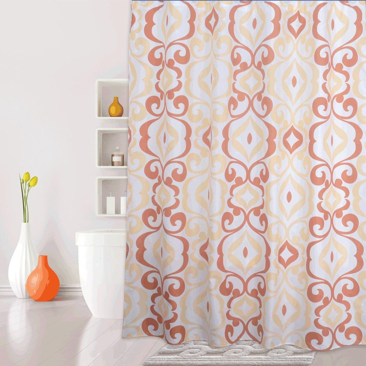 Штора для ванной Iddis Hermitage, цвет: оранжевый, розовый, 180 x 200 см590P18Ri11Материал: текстиль, 100% полиэстер, водоотталкивающая пропитка, 12 встроенных колец для крепления к карнизу, плотность 100 г/м, утяжеляющая нить, упаковка ПВХ пакет.