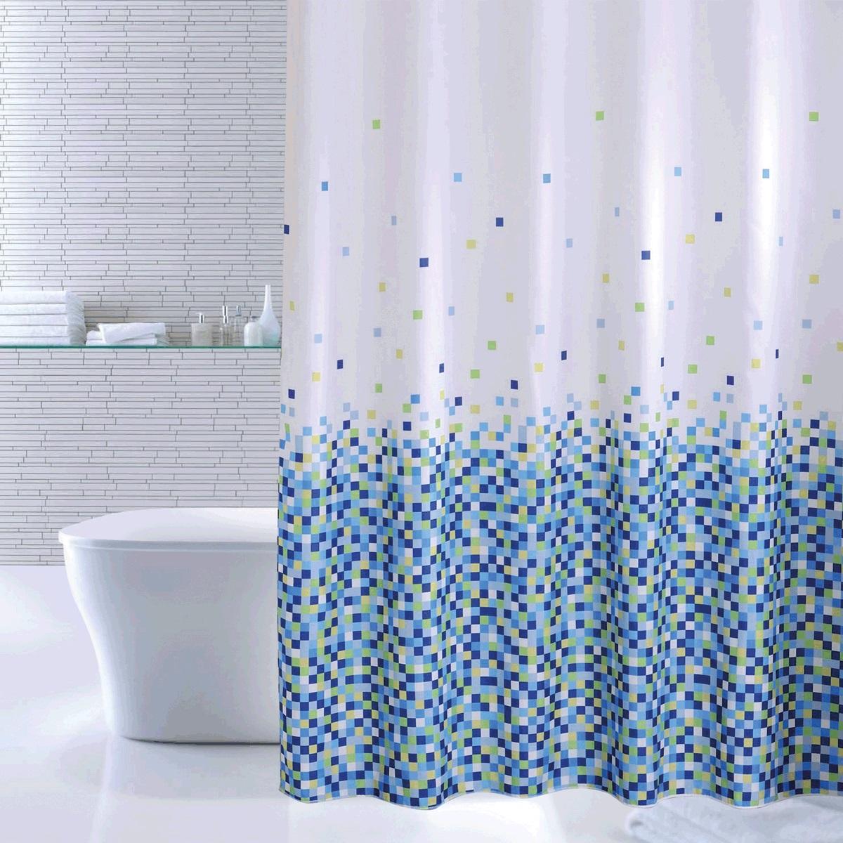 Штора для ванной Iddis Blue Pixels, цвет: синий, 180 x 200 см600P18Ri11Штора для ванной комнаты Iddis выполнена из быстросохнущего материала - 100% полиэстера, что обеспечивает прочность изделия и легкость ухода за ним.Материал шторы пропитан специальным водоотталкивающим составом Waterprof.Изделие изготовлено из экологически-чистого материала, оно обладает высокой степенью гигиеничности, не вызывает аллергических реакций.Штора имеет 12 металлических люверсов и утяжеляющую нить. В комплекте: штора и кольца.